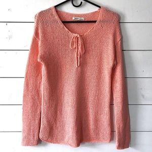Old Navy Pink Lace Up V-Neck Pullover Sweater